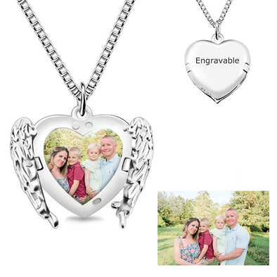 Personalized Photo Necklace,Photo Heart Necklace Angel Wings Necklaces,Custom Photo Necklace for Women - Silver