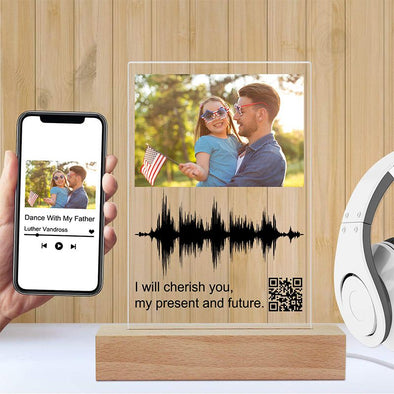 Soundwave Art Custom Photo Light Scannable Personalized QR Code Picture Lamp for Mothers Day,Fathers Day