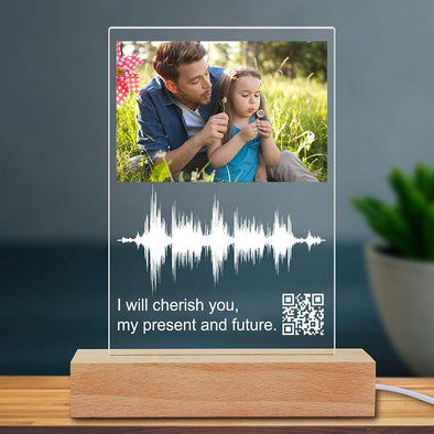 Soundwave Art Custom Photo Night Light Scannable Personalized QR Code Picture Lamp for Mothers Day,Fathers Day