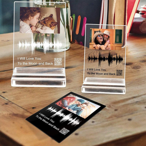 Custom Soundwave Art Acrylic Gifts, Personalised Sound Wave Artwork Acrylic Photo Plaque with QR Code for Mother's Day,Father's Day