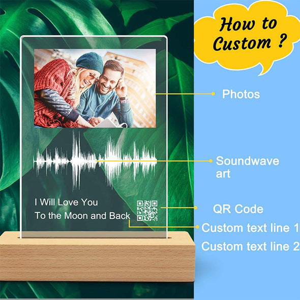 Custom Soundwave Art Acrylic Night Light, Personalised Sound Wave Artwork Acrylic Photo Plaque with QR Code for Mother's Day,Father's Day