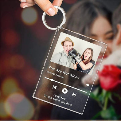 Custom Song Poster Scannable Spotify Code Acrylic Music Keychain for Valentine's Day,Mothers Day