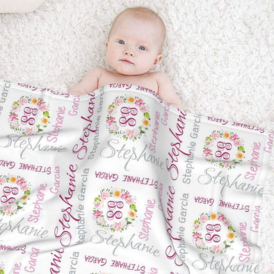 Custom Baby Girls Blanket with Name, Personalized Baby Blankets for Newborns, Infants, Toddlers