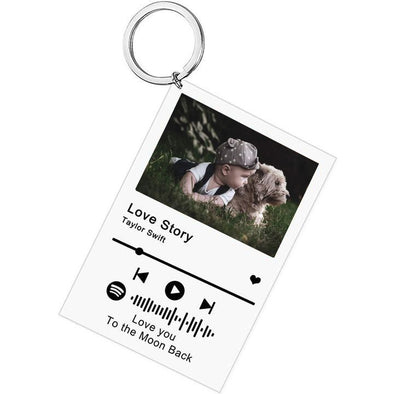 Custom Scannable Spotify Code Plaque Keychain, Personalized Photo and Acrylic Music Keychain for Valentine's Day,Mothers Day