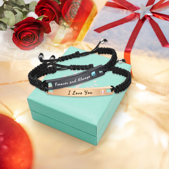 Personalized  Bracelets Engraved Inspirational Bracelets for Women Men Couples Braided Rope - amlion
