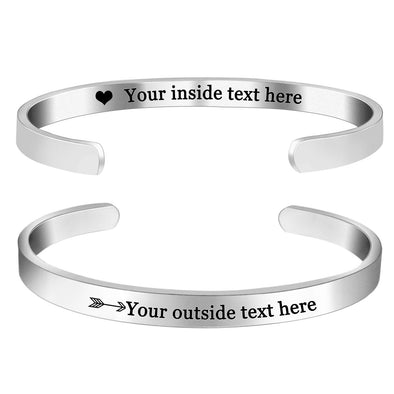 Engraved Personalized Inspirational Bracelets Cuff for Women Girls -Double Side Engraved - amlion