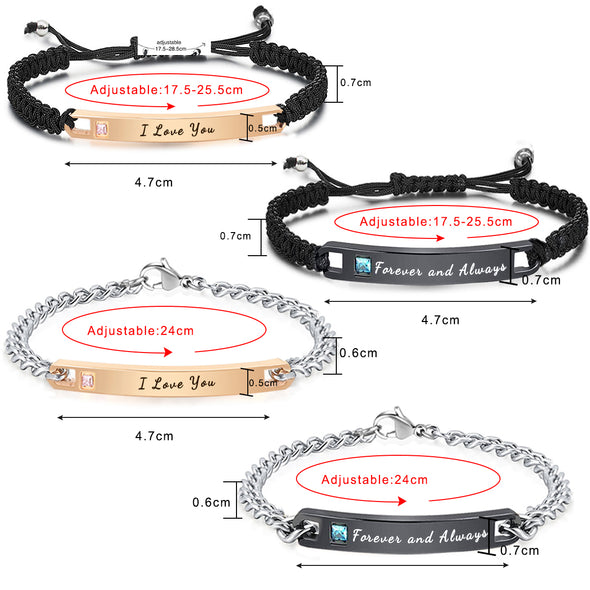 Custom Bracelets Engraved Personalized  Cuff Bangle for Women Girls Braided Rope - amlion
