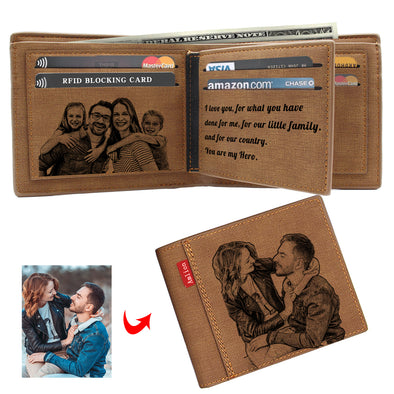Personalized Wallets Men, Custom Engraved Mens Photo Wallets with Text Pictures for Him Dad Son-Brown2 - amlion