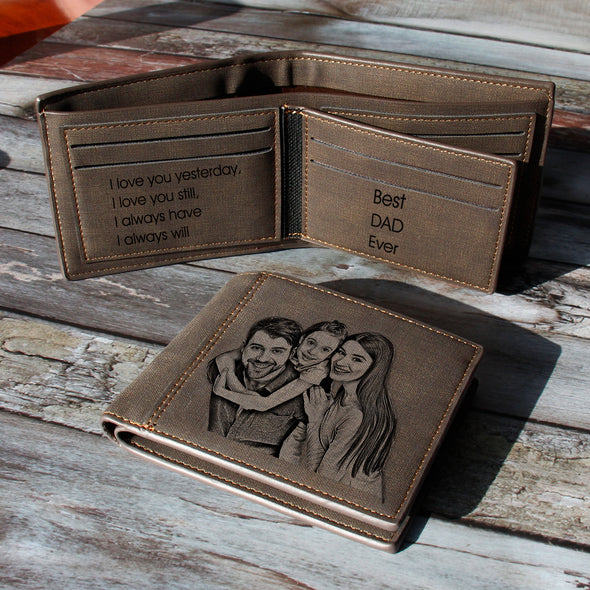 Custom Engraved Wallet, Personalized Photo Wallet for Men Dark brown - amlion