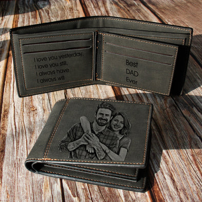 Custom Engraved Wallet, Personalized Photo Wallet for Men Dad Father Day Gifts black - amlion