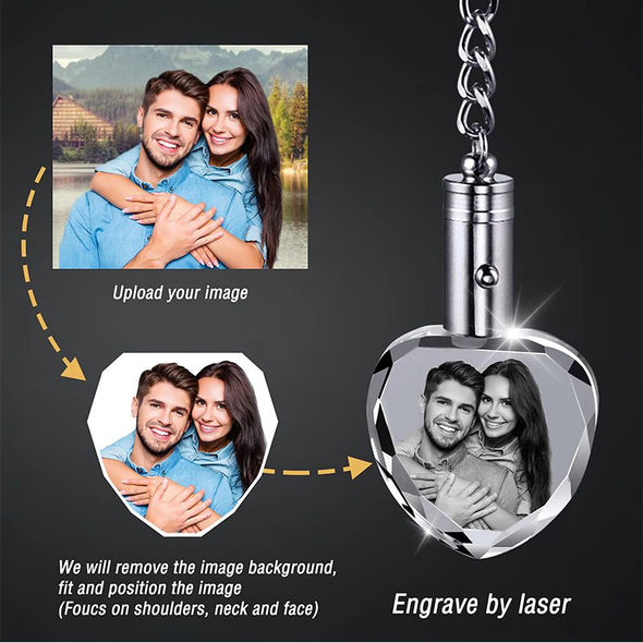 Custom Personalized Heart Crystal Keychain with Picture Photos Engraved for Valentine's Day,Mothers Day