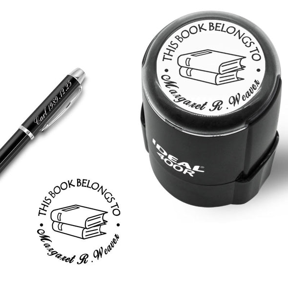 "Custom Stamp Self Inking,Personalized Stamp Return Address,1-5/8"" Diameter, Round Book/Classroom/Library/Teacher Stamp - amlion"