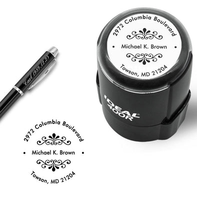 "Custom Stamp Self Inking,Personalized Stamp Return Address,1-5/8"" Diameter,Round Business Stamp for Wedding,Teacher,Home,Bank or Office - amlion"