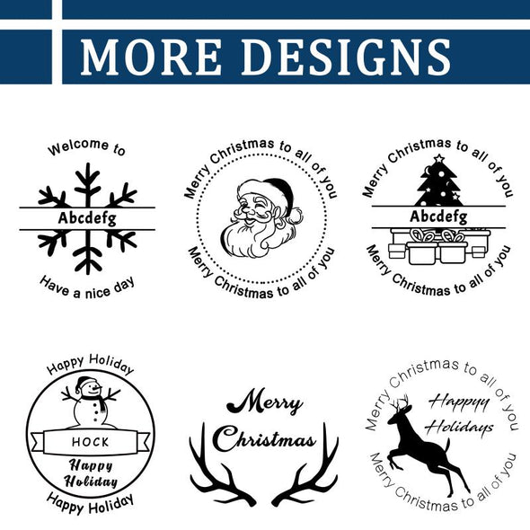 "Custom Rubber Stamps Self Inking Stamps Personalized-Christmas Address Stamps 1-5/8"" Diameter - amlion"