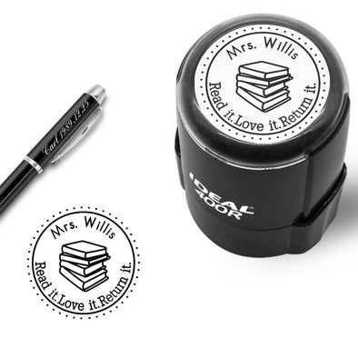 "Custom Rubber Stamps Self Inking Stamps Personalized-Teacher Library Book Stamps 1-5/8""Diameter - amlion"
