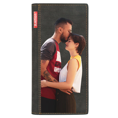 Custom Photo Wallet, Personalized Photo Print Long Wallets for Men Women Wife  Mother Day Gifts Black - amlion