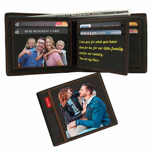 Custom Photo Wallet, Personalized Print Photo Wallets for Men Father Day Gifts Black - amlion