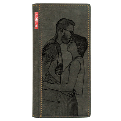 Custom Engraved Wallet, Personalized Photo Long  Wallets for Men Women Father Mother Day Gifts Black - amlion