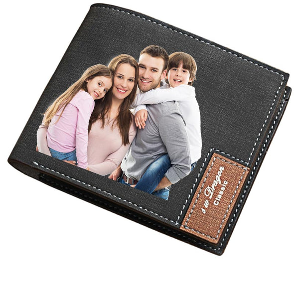 Custom Photo Wallet, Personalized Photo Printed Leather Wallets for Men Black - amlion