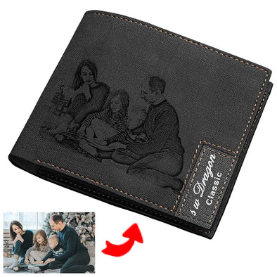 Custom Engraved Wallet, Personalized Photo Leather Wallets for Men Black - amlion