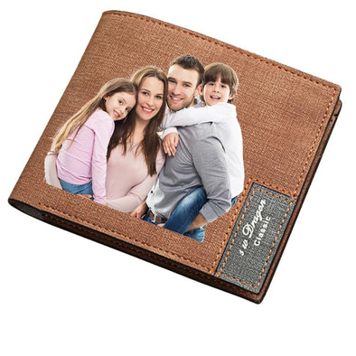 Custom Photo Wallet, Personalized Print Photo Leather Wallets for Men Father Day Gifts ,Brown - amlion