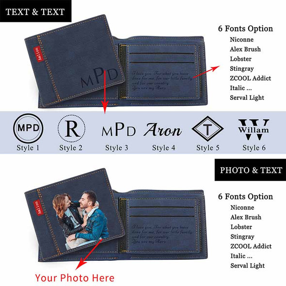Custom Photo Wallet, Personalized Photo Printed Wallets for Men or Son Black - amlion