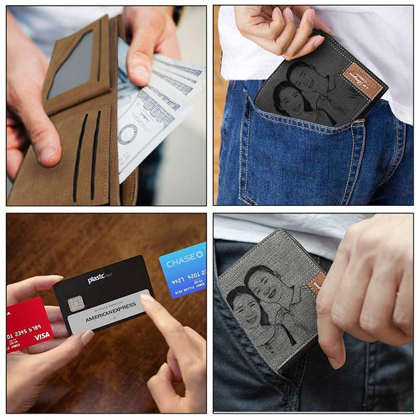Custom Engraved Wallet, Personalized Photo Men Wallets for Dad Boyfriend Son Him Grey - amlion