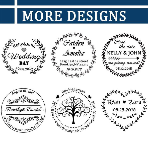 Custom Rubber Self Inking Stamp-Personalized Wedding Stamp,Use in Wedding Invitations, Save The Dates, RSVP Cards - amlion