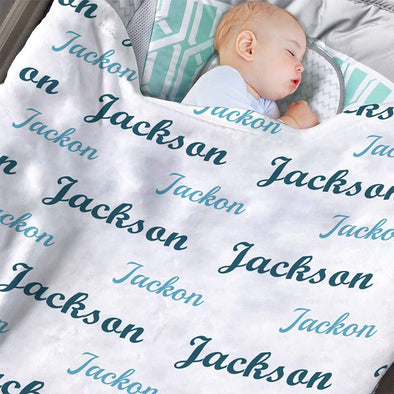 Custom Baby Blanket for Boys with Name, Personalized Baby Boy Blankets for Newboens, Infants, Toddlers