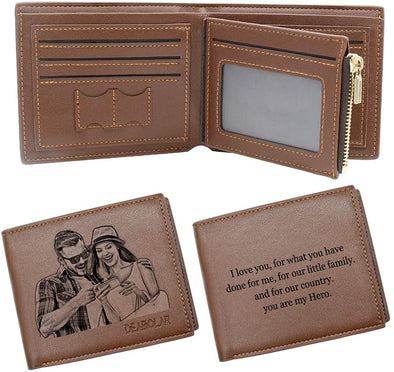 Photo Wallet,Personalized Wallet for Men, Custom Photo Engraved Wallet