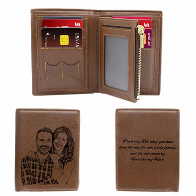 Custom Engraved Wallet,Personalized Photo Leather Wallets for Men Day Father Day Gifts Brown - amlion