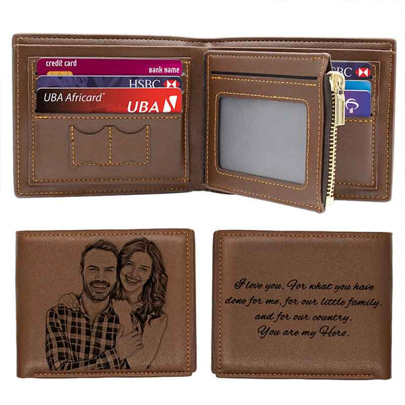 Personalized Photo Leather Wallets Men,Custom Engraved Wallet for Him Dad Son Father Day Gifts Brown - amlion