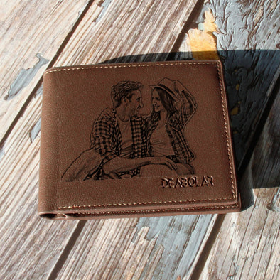 Personalized Photo Leather Wallets Engraved, Custom Wallets for Men,Father,Dad - amlion