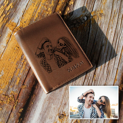 Personalized Photo Leather Custom Wallets for Men - amlion