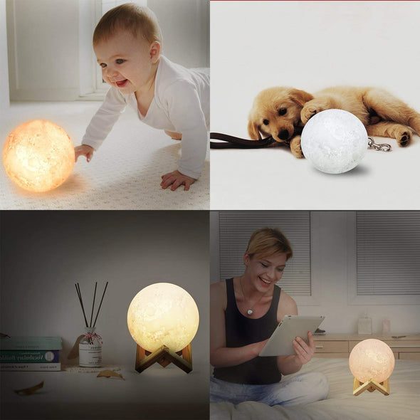 3D Print Moon Photo Lamp Personalized,Custom 3d Luna lights with picture - amlion