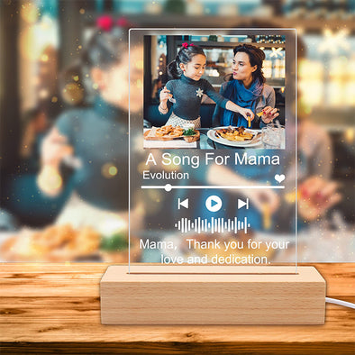 Custom Photo Music Plaque Frame, Personalized Acrylic Music Photo Album LED Lamp for Mother's Day,Father's Day