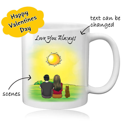 Custom Couple and Dog Coffee Mug for Women Men Best Valentine's Day Gift - amlion