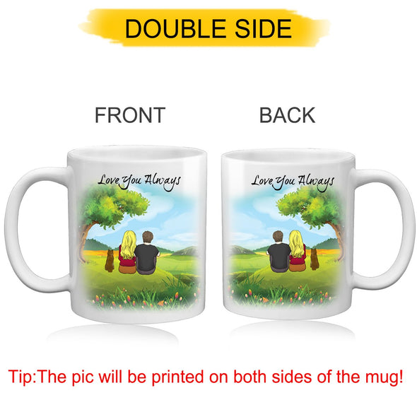 Custom Couple and Dog Coffee Mug for Lover - amlion