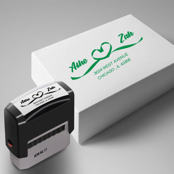 "Custom Return Address Stamp-Personalized Couple Address Stamp Self Inking Rubber Stamps (15/16"" x 2-3/8"") - amlion"