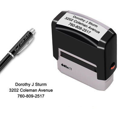 Custom Stamp Personalized-Up to 3 Lines,Self Inking Rubber Address Stamp for Return or Business - amlion