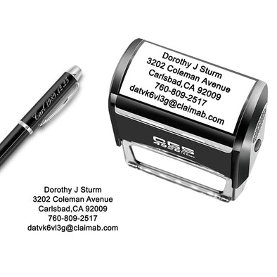 Custom Stamp Personalized-Up to 5 Lines,Self Inking Rubber Address Stamp for Return or Business - amlion