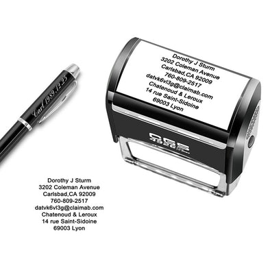 Custom Stamp Personalized-Up to 8 Lines,Self Inking Rubber Address Stamp for Return or Business - amlion