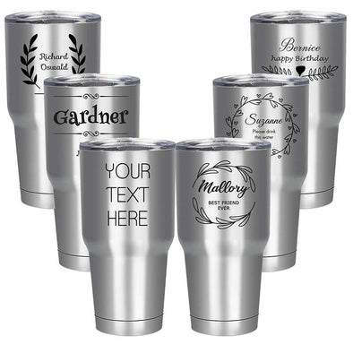 Custom Engraved Tumbler 30 Oz  Custom Mug Stainless Steel Silver - amlion