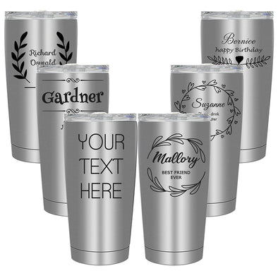 Engraved Tumbler 20 Oz Insulated Stainless Steel Silver - amlion