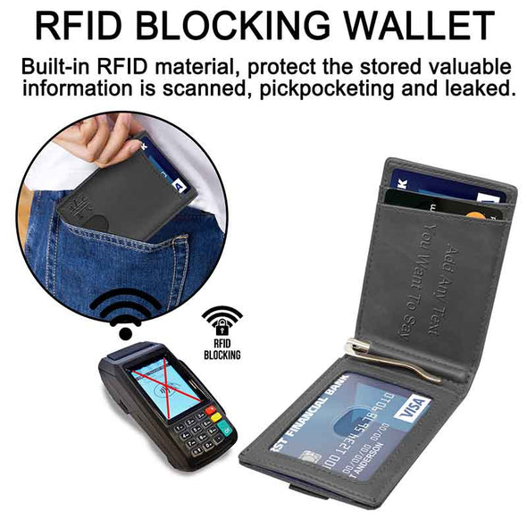 Photo Wallet for Men,RFID Blocking,Personalized Wallet - amlion