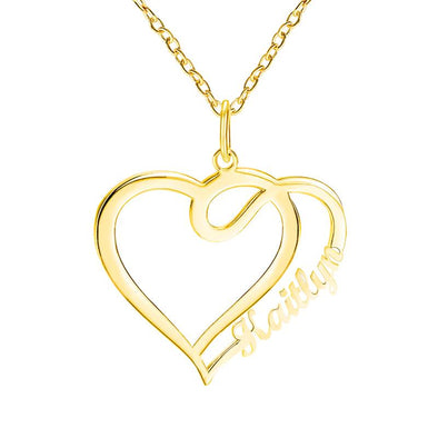Personalized Necklace, Custom Heart Necklace, Name Necklaces for Women-Gold.