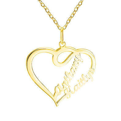 Personalized Necklace,Custom Infinity Necklace, 2 Names Heart Necklaces for Women-Gold