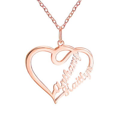 Personalized Necklace,Custom Infinity Necklace, 2 Names Heart Necklaces for Women-Rose gold