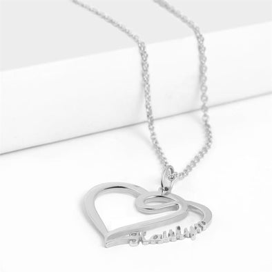 Personalized Necklace, Custom Heart Necklace, Name Necklaces for Women-Sliver