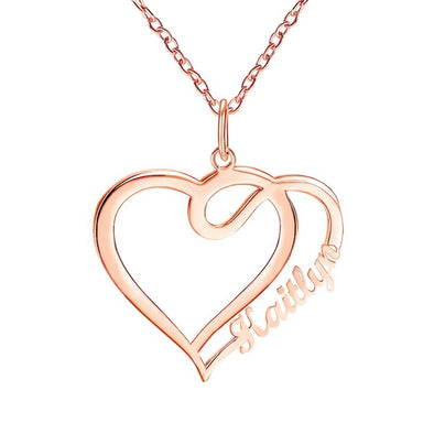 Personalized Necklace, Custom Heart Necklace, Name Necklaces for Women-Rose Gold.